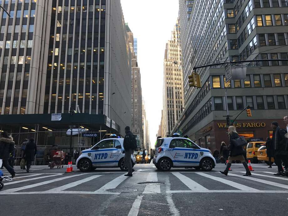 New York police closed the intersection of 39th Street and Seventh Avenue in Manhattan after an explosion at the 42nd Street subway station. Authorities said a terrorist tried to detonate a bomb in the station. Photo: Erika Dickstein / Times Union