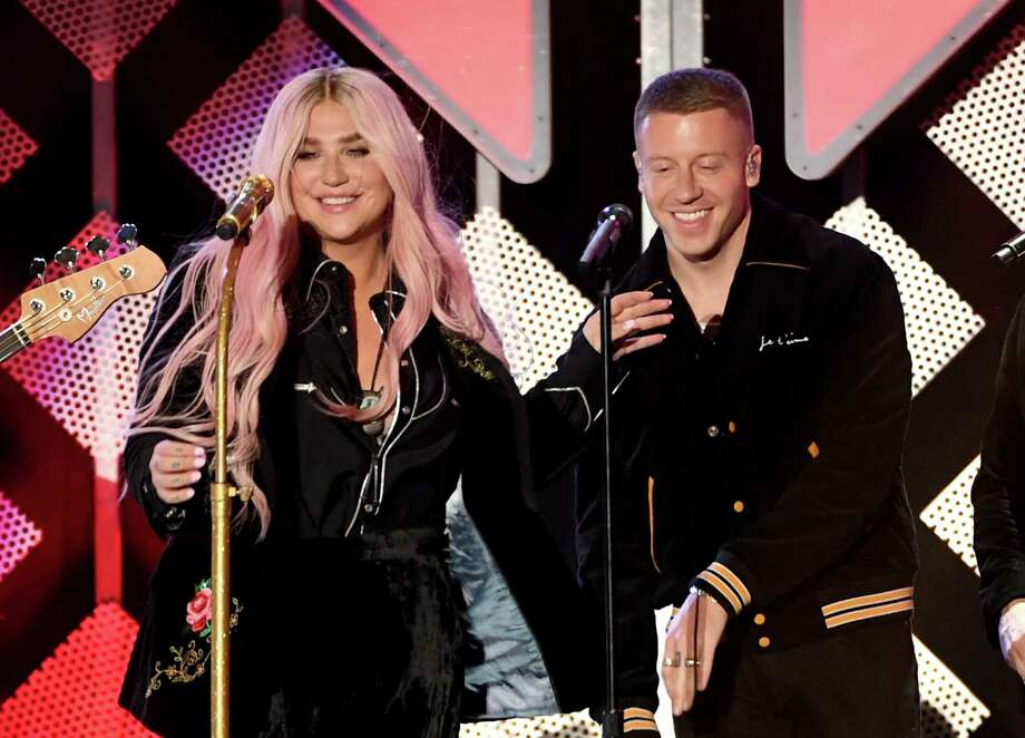 INGLEWOOD, CA - DECEMBER 01:  Kesha (L) and Macklemore perform onstage during 102.7 KIIS FM's Jingle Ball 2017 presented by Capital One at The Forum on December 1, 2017 in Inglewood, California. Photo: Kevin Winter, Getty Images For IHeartMedia / 2017 Getty Images