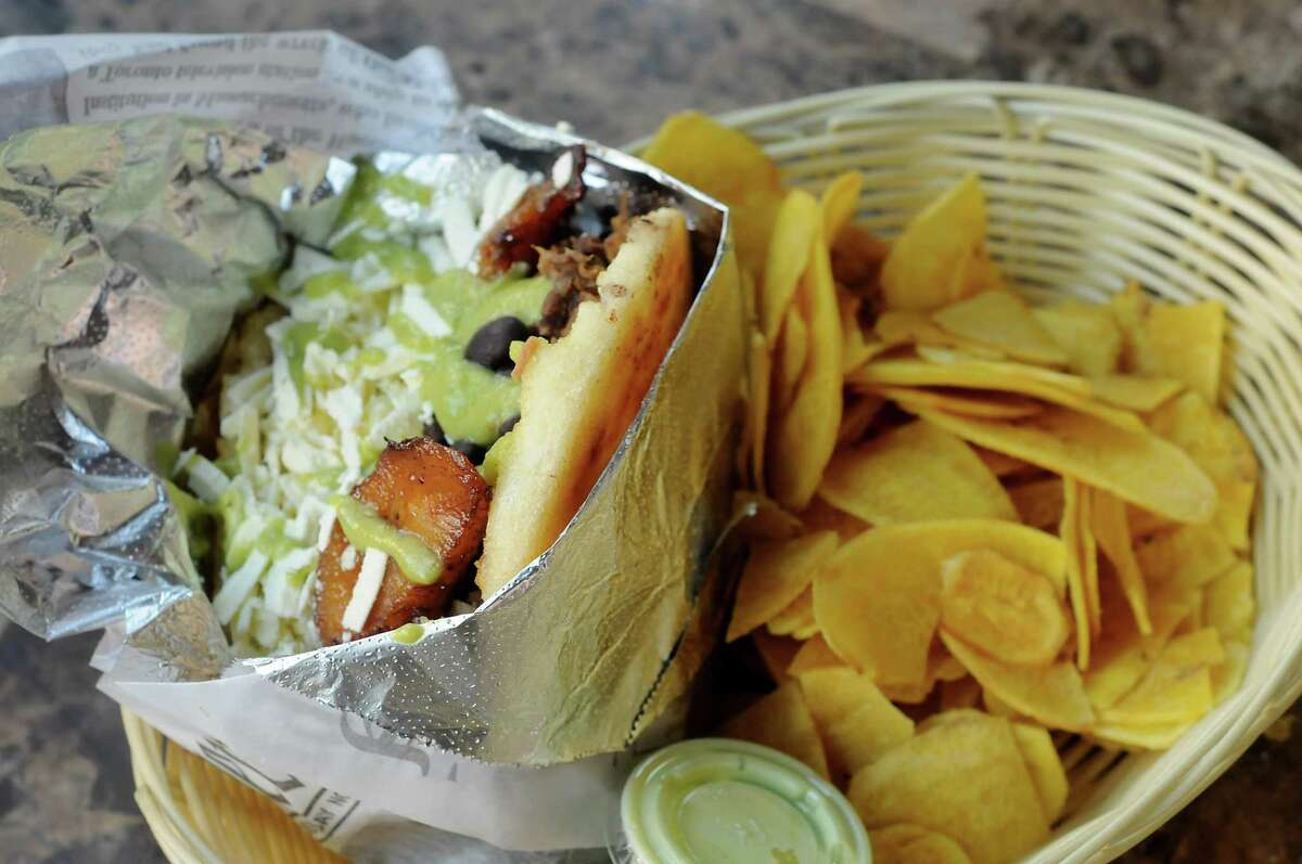 """""""The Best"""" is a grilled arepa filled with braised beef, black beans, plantains and queso llanero at Gordi's Arepas & More at The Conservatory."""