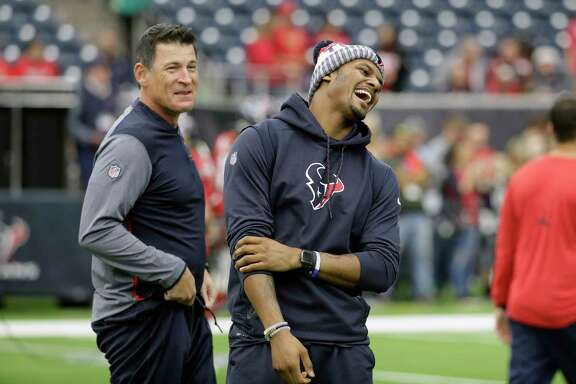 Houston Texans quarterback Deshaun Watson before an NFL football game against the San Francisco 49ers,Sunday, Dec. 10, 2017, in Houston. (AP Photo/David J. Phillip)