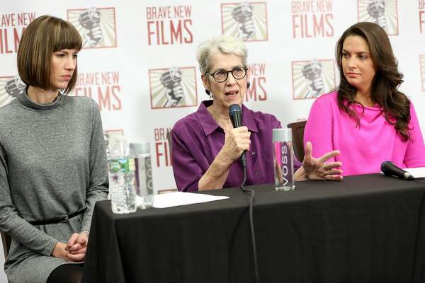 (L-R) Rachel Crooks, Jessica Leeds, and Samantha Holvey speak during the press conference held by women accusing Trump of sexual harassment in NYC on December 11, 2017 in New York City.