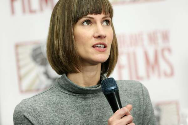 Rachel Crooks  speaks during the press conference held by women accusing Trump of sexual harassment in NYC on December 11, 2017 in New York City.
