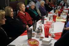 The Hale County Historical Commission and the Hi-Plains Genealogy Society shared Christmas memories at a joint celebration at Old Mexico last week. Shown are Alice Sawayer, Elva Hipolito, June Wells, Carolyn Courtney, Pat Ryan, Carl and Renee Williams, Linda Milner Shipp and Maxine Davis.