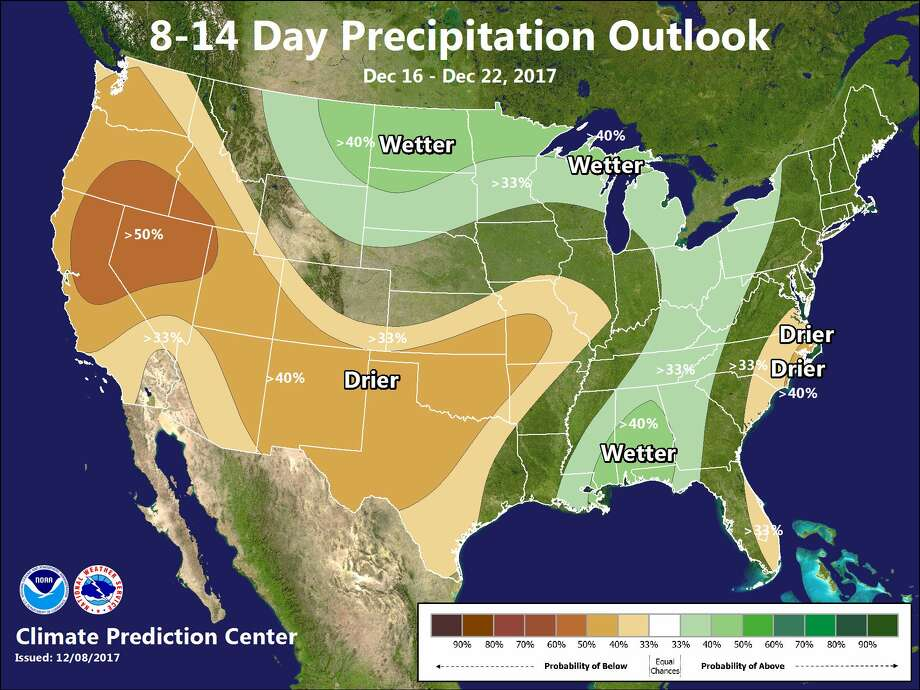 """Confidence remains moderate to high that below normal precipitation will continue for much of the Western United States for the 8 to 14 day period,"" according to the National Weather Service Bay Area. Photo: National Weather Service"