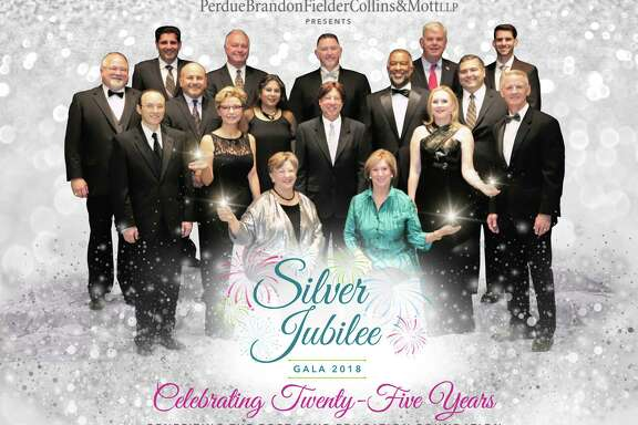 Underwriters of the Fort Bend Education Foundation Silver Jubilee Gala include, from left, sitting: Co-Chairs Lynn Halford and Peggy Jackson; first row standing: Dr. Victor Hassid, MD Anderson Cancer Center; Lina Sabouni, AUTOARCH Architects; Mike Siwierka, Perdue Fielder Brandon Collins & Mott; Sharon Galloway, CHI St. Lukes Health Sugar Land Hospital; and Chris Keene, Rangeland Energy; second row standing: Ron Bailey, PBK Architects; Ray Aguilar, Classic Chevrolet Sugar Land; Shefali Jhaveri; Dr. Eric Peterson, Kelsey-Seybold Clinic; and Oscar Saenz, Jacobs Engineering; third row standing: Irfan Abji, E Contractors; Ray Meyer, Paradigm Consultants; Charles Carter, UnitedHealthcare; Gary Pearson, Republic Services and Douglas Walker-Rice, Rice and Gardner Consultants.  Not pictured are Prime Contractors, Bass Construction, the Bhuchars, Bracewell LLP, Gold Star Transit, IBI Group Architects, the Likharis, Netsync Network Solutions, the Patels, Rogers, Morris & Grover, Stantec Architecture and Thompson & Horton.