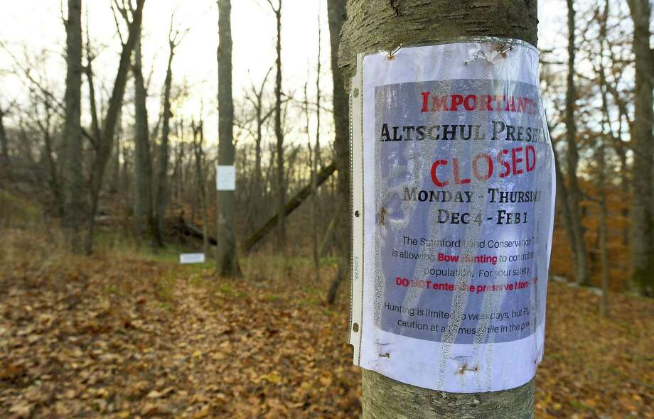 A posting announcing a deer hunt is photograph on Dec. 6, 2017 at the entrance to Altschul Preserve in Stamford, Connecticut. Photo: Matthew Brown / Hearst Connecticut Media / Stamford Advocate