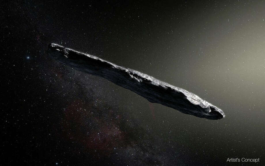 Artist's concept of interstellar asteroid 1I/2017 U1 (a.k.a. Oumuamua) as it passed through the solar system after its discovery in October 2017. The aspect ratio of up to 10:1 is unlike that of any object seen in our own solar system. (European Southern Observatory/M. Kornmesser))