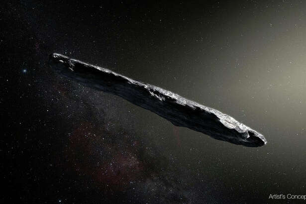 Artist's concept of interstellar asteroid 1I/2017 U1 ('Oumuamua) as it passed through the solar system after its discovery in October 2017. The aspect ratio of up to 10:1 is unlike that of any object seen in our own solar system. (European Southern Observatory/M. Kornmesser))