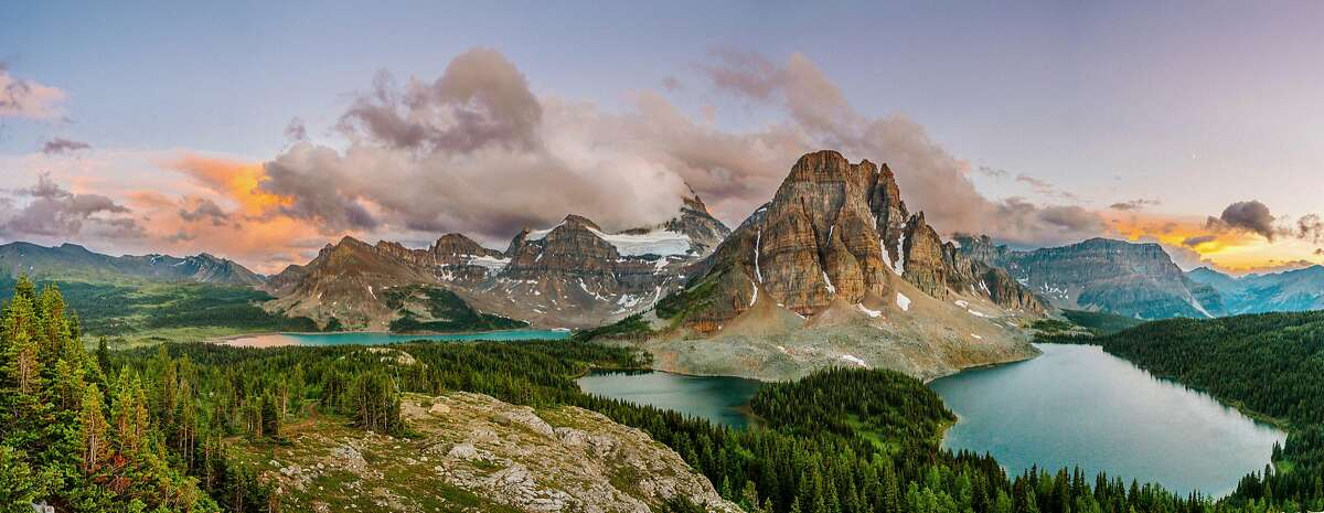 Mount Assiniboine in the Canadian Rockies, near the border between British Columbia and Alberta, Canada.