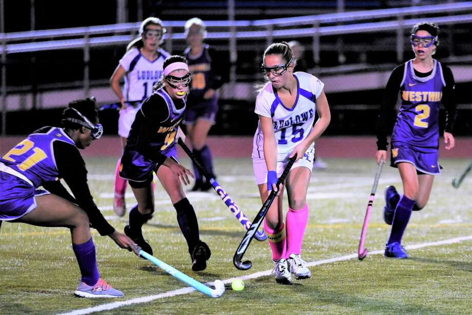 Ludlowe's Lauren Beccaria, shown here against Westhill, scored 30 goals for the Falcons as they won 12 games and reached the quarterfinals of the Class L tournament. Photo: Contributed / Contributed