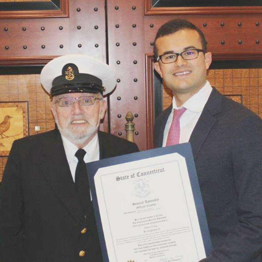 State Sen. Art Linares, right, presented a citation to Robert E. Bailey Jr. of Clinton, a 2017 inductee into the Connecticut Veterans Hall of Fame. Photo: Contributed Photo