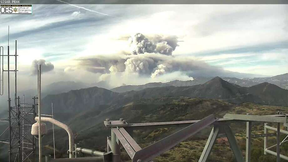 The Thomas Fire looking toward Santa Barbara from Sisar Peak on Dec. 10, 2017. Posted on Twitter at 11:57 a.m. Photo: Ventura County Sheriff / Office Of Emergency Services