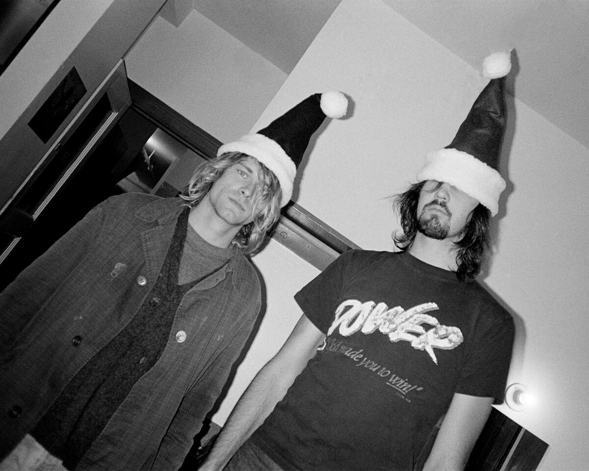 An early photo of Nirvana frontman Kurt Cobain and bassist and co-founder Krist Novoselic taken by Karen Mason-Blair.