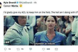Social media reacts to Carson Wentz's season-ending injury.