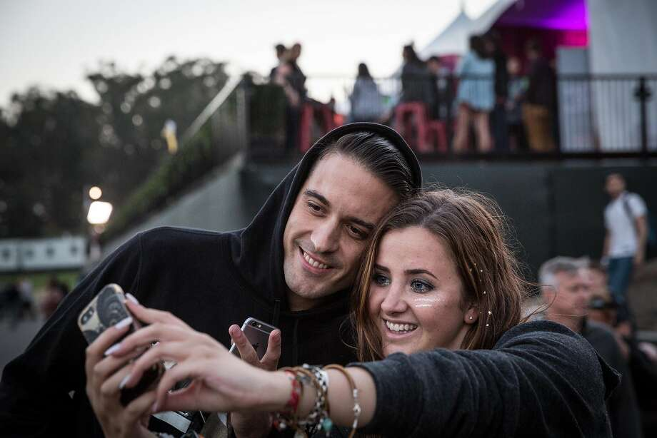 G-Eazy poses for a selfie with fan Z'dra Jaye at Outside Lands in August 2015. Photo: Loren Elliott, The Chronicle
