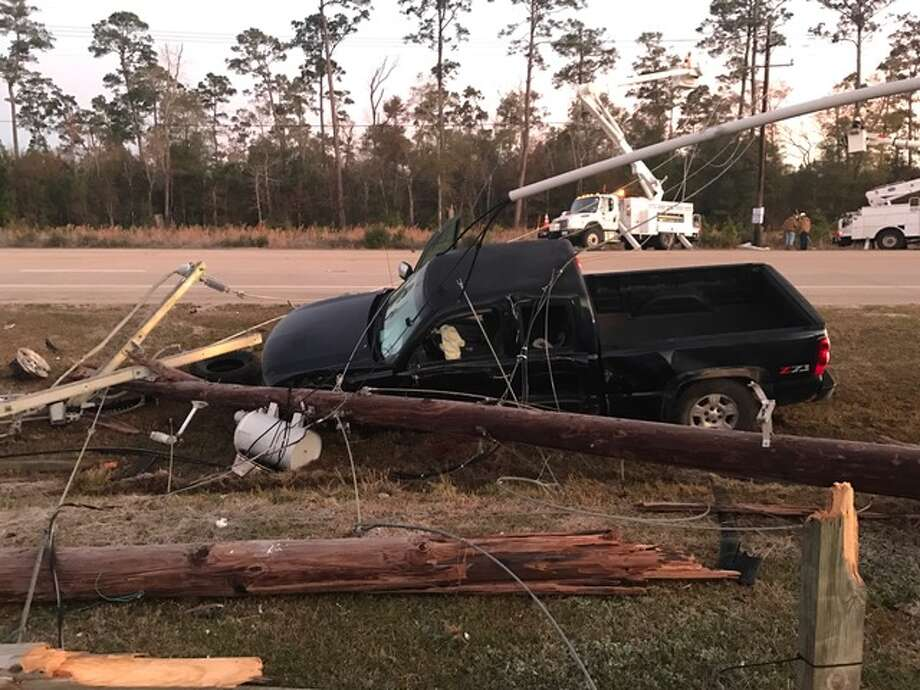 A 2006 Chevrolet truck crashed on TX 105 near Bevil Oaks at 5 a.m. December 11, 2017. Photo: DPS