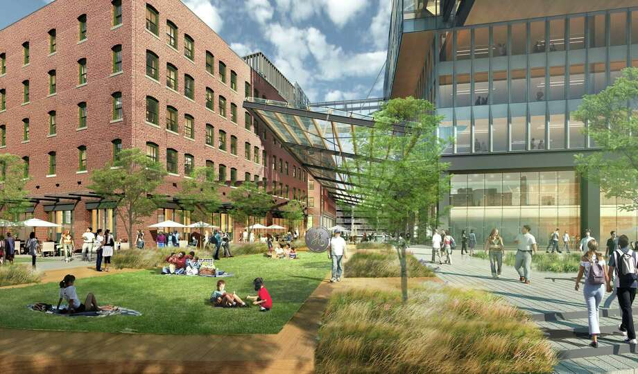 A street-level rendering of the planned new headquarters for General Electric in South Boston, which has been delayed by the new CEO as the company runs into problems in its new home. Photo: Contributed Photo / Connecticut Post contributed