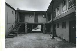 This apartment complex at 1423 Hawthorne in Montrose would be renovated with federal funds to provide housing for poor AIDS patients under a proposal by Mayor Kathy Whittier, 1988.