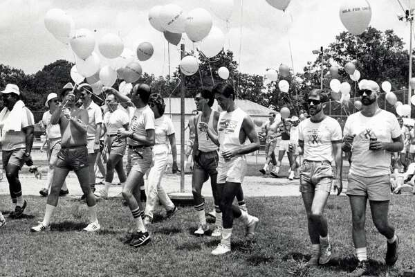1985 participants in the Walk for Unity event sponsored by the Diana Foundation begin their walk in the Montrose area as part of Gay Pride Week.