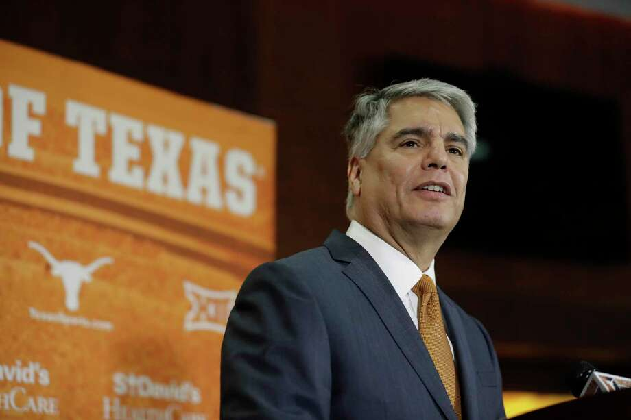Texas president Greg Fenves speaks at a news conference where he introduced Chris Del Conte as the new vice president and athletics director for the University of Texas, Monday, Dec. 11, 2017, in Austin, Texas. (AP Photo/Eric Gay) Photo: Eric Gay, Associated Press / Copyright 2017 The Associated Press. All rights reserved.