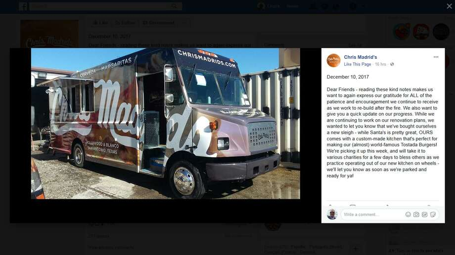 Chris Madrid's announced on its Facebook page that while the restaurant undergoes repairs after a fire, it purchased a food truck that it will roll out to San Antonio events in coming weeks. Photo: Screengrab