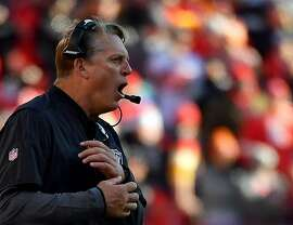 KANSAS CITY, MO - DECEMBER 10:  Head coach Jack Del Rio of the Oakland Raiders  yells from the sidelines during the game at Arrowhead Stadium on December 10, 2017 in Kansas City, Missouri.  (Photo by Peter Aiken/Getty Images)