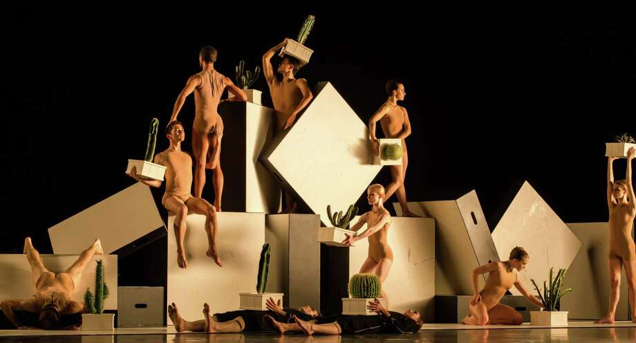 """Artists of Houston Ballet first performed Alexander Ekman's funny """"Cacti"""" in 2016. With all the company has been through since Hurricane Harvey, the topsy-turvy set could be a little more symbolic in early June when they revisit Ekman's dance at the George R. Brown Convention Center's Resilience Theater. Photo: Amitava Sarkar"""