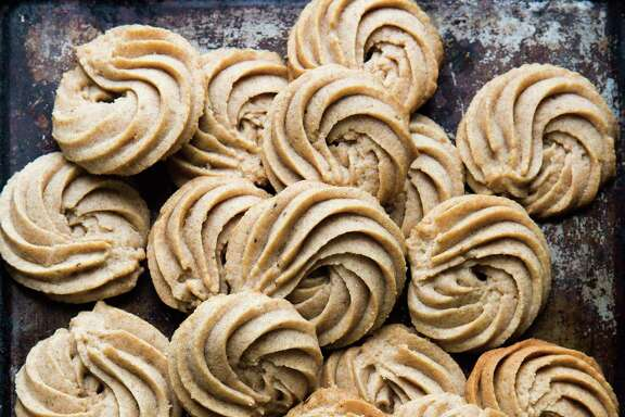 "Pain D'Epices Shortbread Swirls from ""Holiday Cookies"" by Elisabet der Nederlanden."
