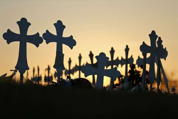 Detail of 26 crosses Nov. 30 in Sutherland Springs for those killed in the mass shooting at the First Baptist Church of Sutherland Springs. The former airman who did the shooting should never have been able to buy his guns in the first place. A mistake by the Air Force made that possible.