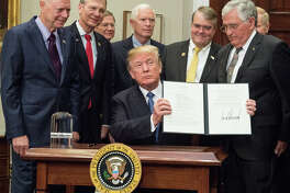 U.S. House Space Subcommittee Chairman Brian Babin (R-TX) joined President Trump today at the White House as he signed Space Policy Directive - 1 urging NASA to return Americans to the Moon and encourage human space exploration to Mars and beyond.