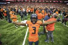 Syracuse's Ervin Philips celebrates his team's upset win over Clemson this past October in Syracuse, New York.