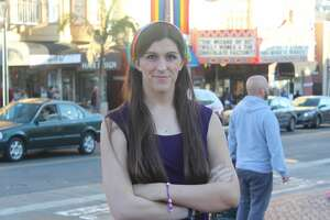 Virginia lawmaker Danica Roem stands in front of the Castro Theater on Dec. 11, 2017.