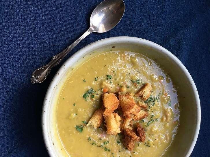 Jessica Battilana's  Split Pea Soup recipe is seen on Wednesday, Nov. 22, 2017 in San Francisco, Calif.