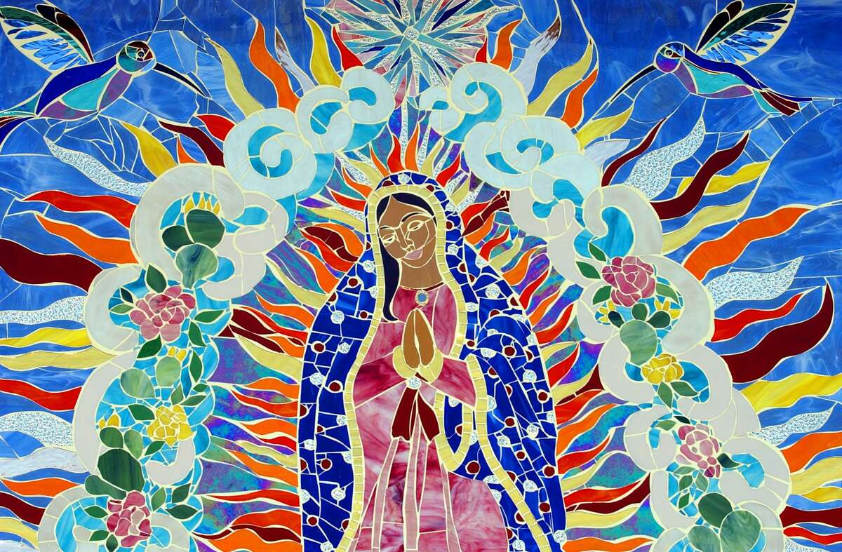 A section of the mural entitled Stained Glass Mosaic Para La Virgen De Guadalupe by Anabelle Rodriguez photographed in 2003.