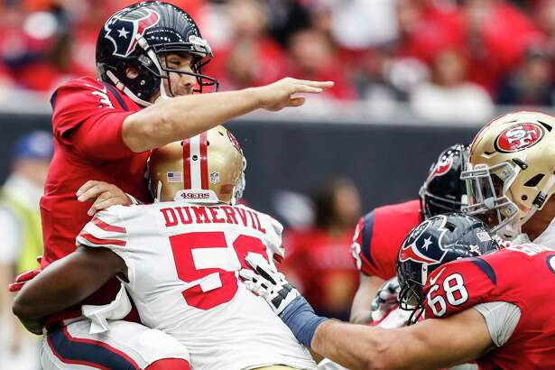 Texans quarterback Tom Savage went to the sideline after being hit by 49ers defensive end Elvis Dumervil, but he returned to the field for one series.