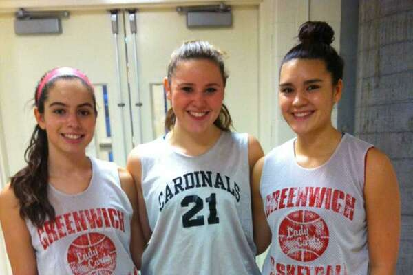 From left, Michelle Morganti, Jordan Stefanowicz and Kim Kockenmeister are the senior captains of the Greenwich High School girls basketball team.