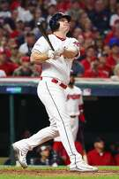 CLEVELAND, OH - OCTOBER 05:  Jay Bruce #32 of the Cleveland Indians hits a two-run home run during the fourth inning against the New York Yankees during game one of the American League Division Series at Progressive Field on October 5, 2017 in Cleveland, Ohio.  (Photo by Gregory Shamus/Getty Images)