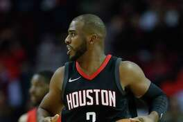Houston Rockets guard Chris Paul (3) comes up the court during the first half of an NBA game at Toyota Center, Monday, Dec. 11, 2017, in Houston.