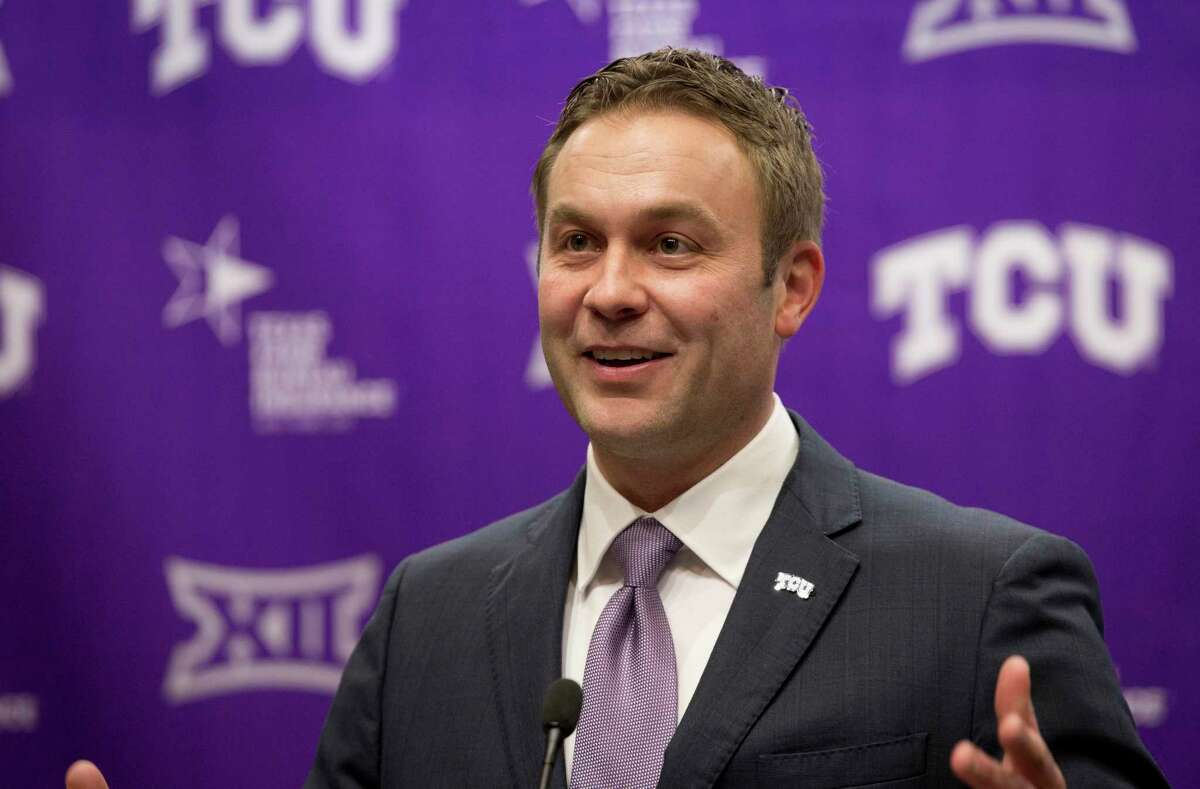 TCU announced Jeremiah Donati as its next athletic director at a press conference Monday, Dec. 11, 2017. Donati saved Chris Del Conte for last on the list of people he thanked after TCU named Del ConteÂ?'s assistant as the new athletic director just two days after his former boss took the same job with the Texas Longhorns. (Joyce Marshall /Star-Telegram via AP)