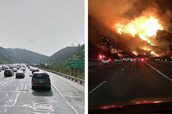 These images show before-and-after views of the devastating Southern California wildfires.