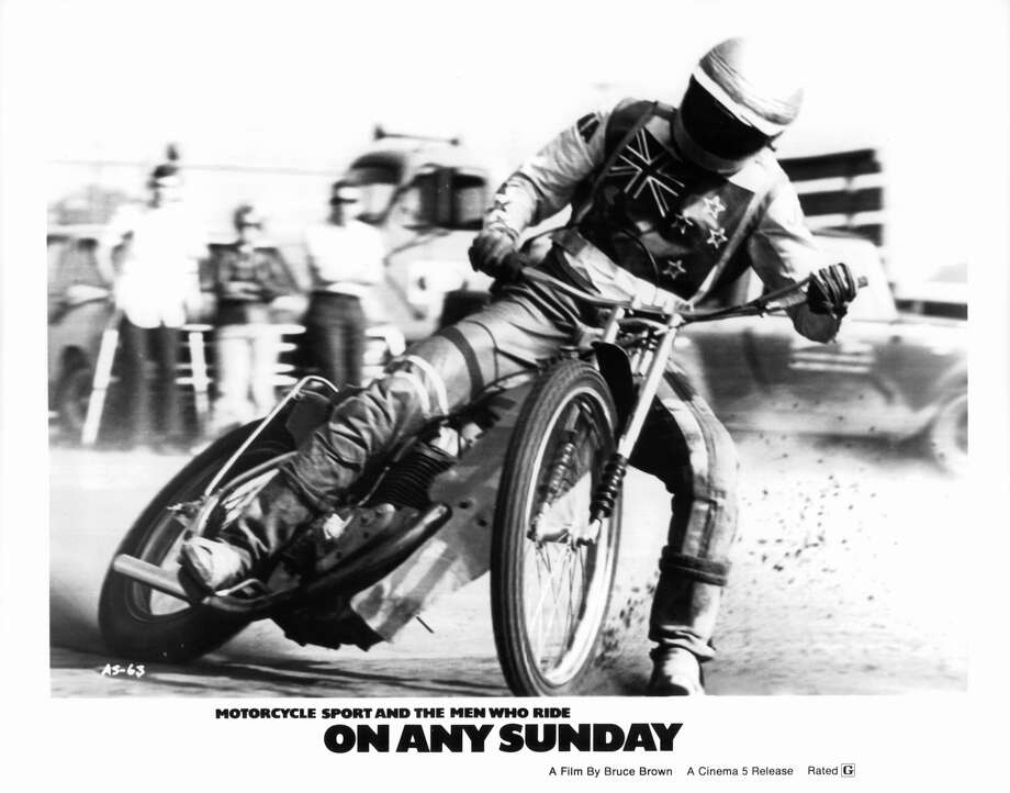 A rider slides to a stop in a scene from the film 'On Any Sunday', 1971. (Photo by Monterey Media/Getty Images) Photo: Michael Ochs Archives/Getty Images