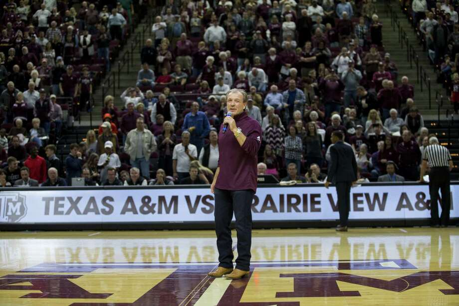 Head football coach Jimbo Fisher spoke to the crowd at Reed Arena during the game between Texas A&M and Prairie View A&M on Dec. 9. Photo: Sam Craft /Associated Press / AP