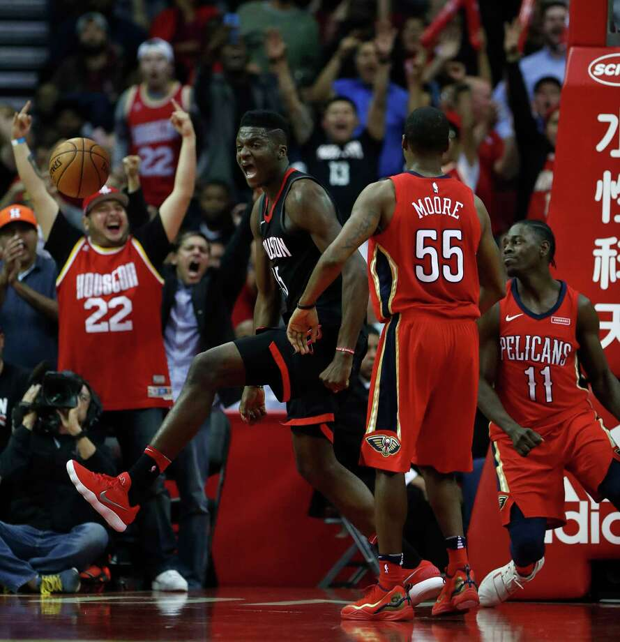 Center Clint Capela celebrates after scoring in the midst of the Rockets' comeback during the second half Monday night. Capela had 28 points to lead the Rockets and outscore his celebrated counterpart DeMarcus Cousins by four. Photo: Karen Warren, Staff / © 2017 Houston Chronicle
