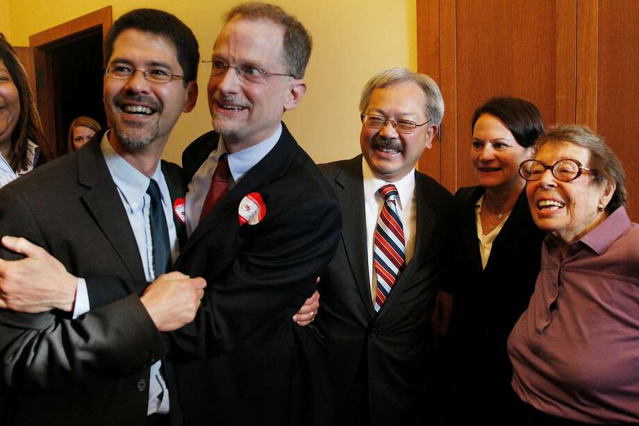 Mayor Ed Lee watches coverage of the Supreme Court Proposition 8 rulings with Stuart Gaffney (left), John Lewis, Joyce Newstat and Phyllis Lyon at City Hall in 2013. Photo: Lea Suzuki, The Chronicle