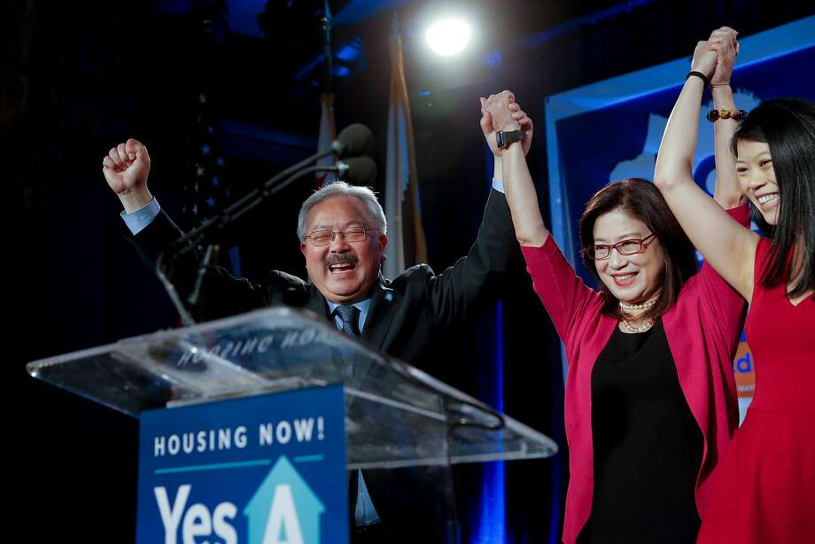 Mayor Ed Lee is joined by his wife, Anita (center) and daughter Brianna at Social Hall after winning re-election in the November 2015 election. Photo: Michael Macor, The Chronicle