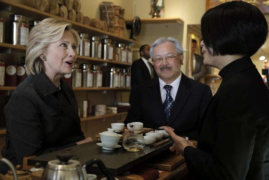 Hillary Rodham Clinton, Mayor Ed Lee and Alice Luong talk at Red Blossom Tea Co. in San Francisco on May 6, 2015. Photo: Carlos Avila Gonzalez, The Chronicle