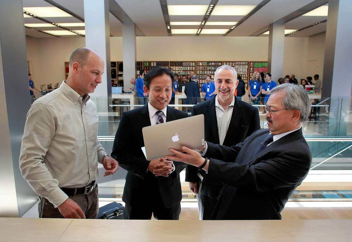 (l to r) Apple vice president of real estate and development Bob Bridger, San Francisco supervisor David Chiu, John Rahaim, director of planning for the City of San Francisco, and Mayor Ed Lee, gather at the Apple store at 1 Stockton Street , on Wednesday May 15, 2013, in San Francisco, Calif. to talk about the relocation. Apple plans to leave their current location at 1 Stockton Street and relocate to the site of the high profile Levi's store on the corner of Stockton and Post in Union Square.