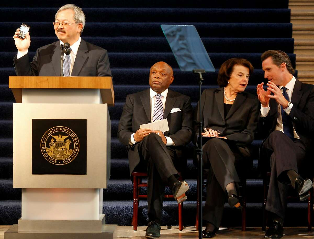 During Mayor Ed Lee's 2012 inauguration speech, he talked technology and tweeted. Willie Brown, Dianne Feinstein and Gavin Newsom are behind him.