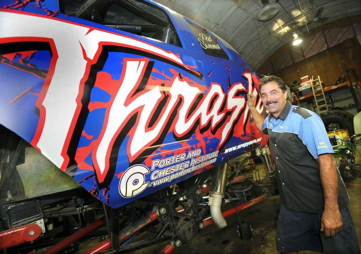 Pat Summa of New Milford, with his monster truck, Monday, June 28, 2010.