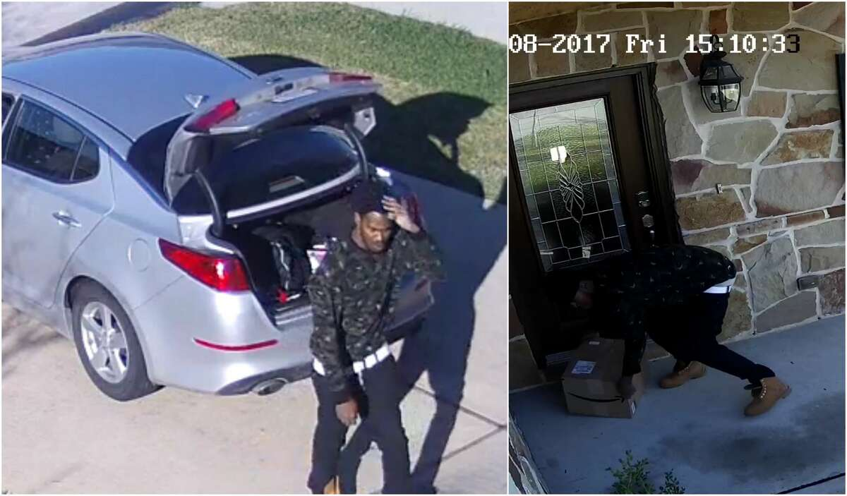 A package thiefwas caught on surveillance videotripping over himself while stealing a box from the front of a Houston home Dec. 8. It appears on the surveillance images that the package was too heavy for him.